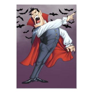 """Funny Cartoon Vampire with Bats by Al Rio 5"""" X 7"""" Invitation Card"""