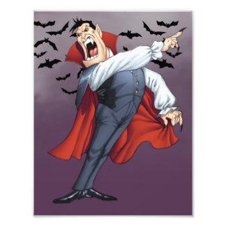 Funny Cartoon Vampire with Bats by Al Rio Photo Print
