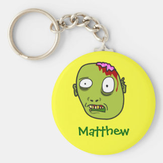 Funny Cartoon Zombie Face Personalized Name Gift Key Ring