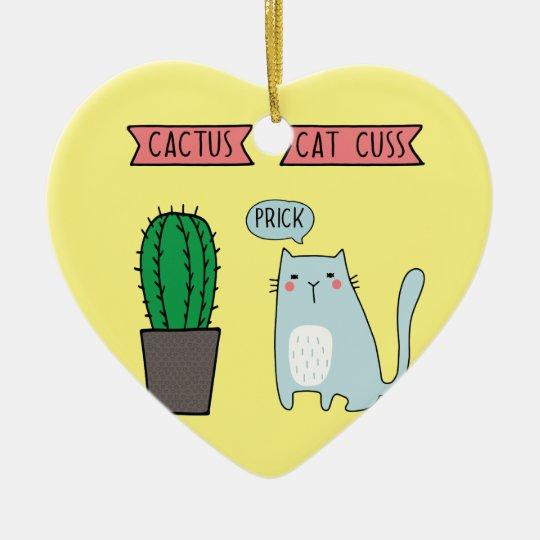 Funny cat and cactus ceramic ornament
