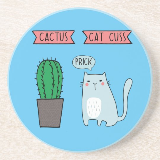 Funny cat and cactus coaster