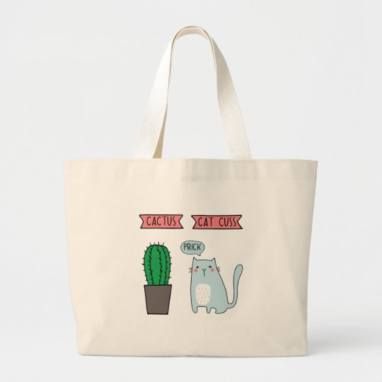 Funny cat and cactus large tote bag