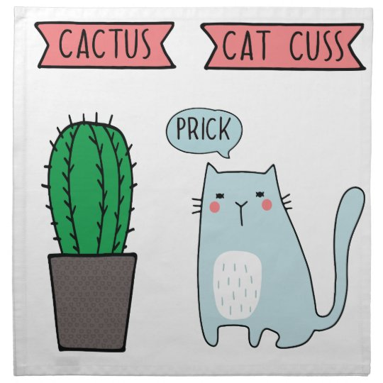 Funny cat and cactus napkin