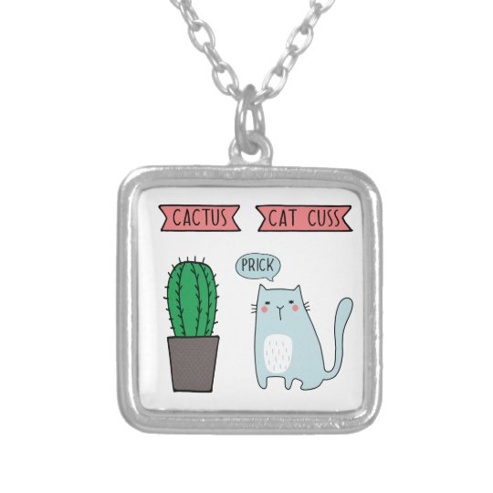 Funny cat and cactus silver plated necklace