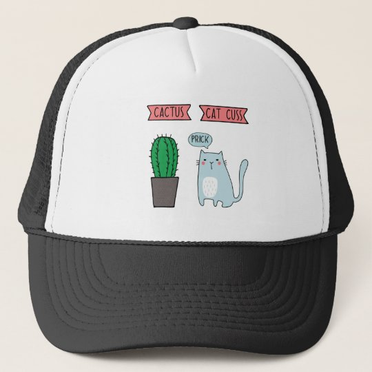 Funny cat and cactus trucker hat