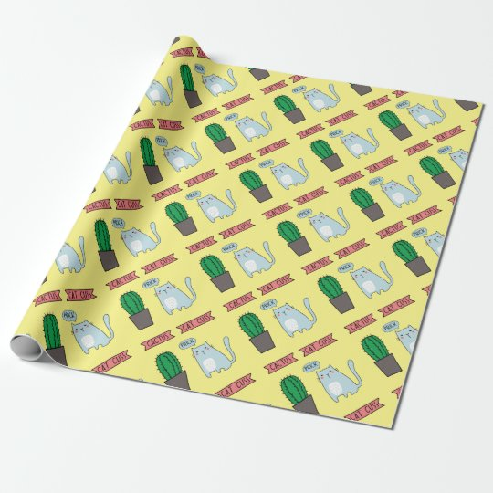 Funny cat and cactus wrapping paper