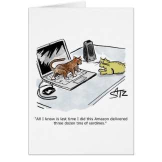 Funny cat and computer greeting card