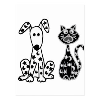 Funny Cat and Dog with Stars and Moons Spots Postcard
