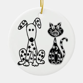 Funny Cat and Dog with Stars and Moons Spots Round Ceramic Decoration