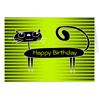 Funny Cat Birthday Card Green
