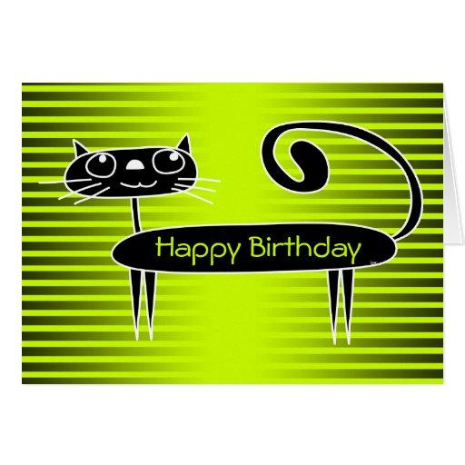 Funny Cat Birthday Card Green