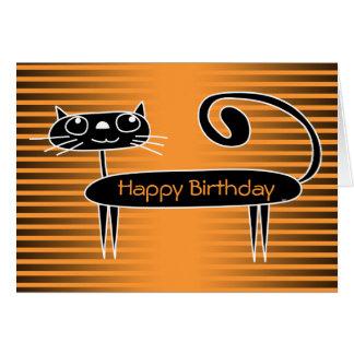 Funny Cat Birthday Card Orange