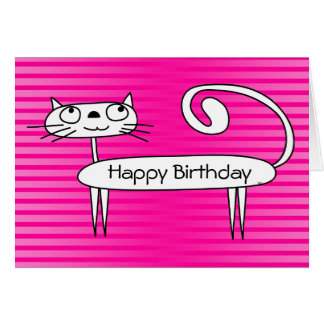 Funny Cat Birthday Card Pink