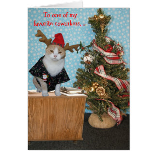 Funny Cat Christmas Card for Coworker