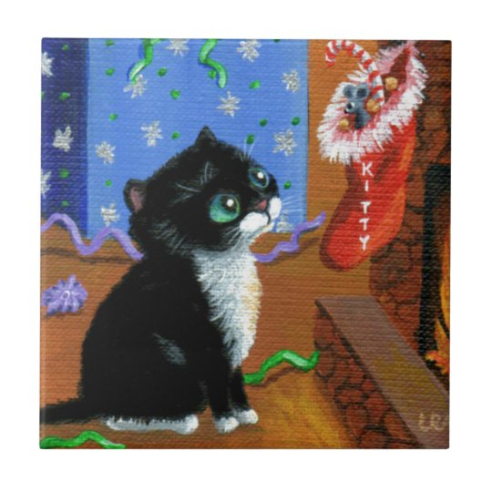 Funny Cat Christmas Tuxedo Kitten Mouse Ceramic Tile
