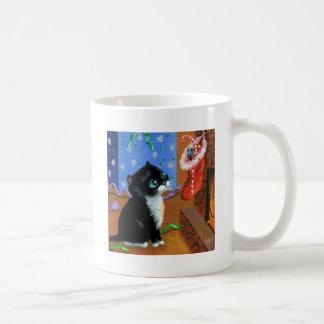 Funny Cat Christmas Tuxedo Kitten Mouse Coffee Mug