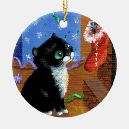 Funny Cat Christmas Tuxedo Kitten Mouse Round Ceramic Decoration
