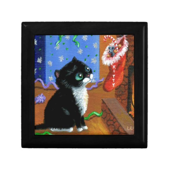Funny Cat Christmas Tuxedo Kitten Mouse Small Square Gift Box