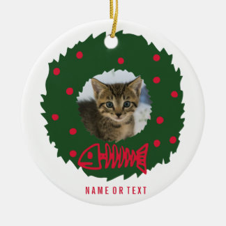 Funny Cat Christmas Wreath With Your Cat's Photo Ceramic Ornament