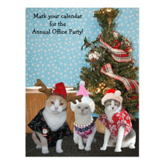 Funny Cat Coworkers/Office Party Postcard