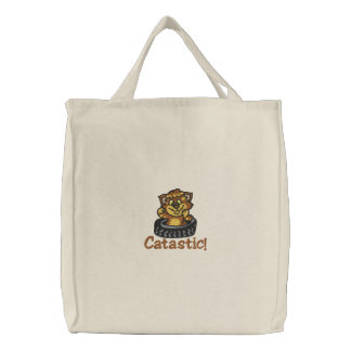 Funny Cat Embroidered Bag