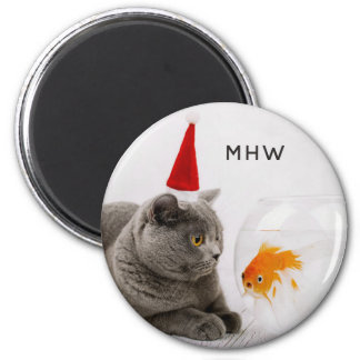 Funny Cat & Fish custom monogram magnet