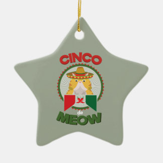 Funny Cat for Cinco de Mayo Mexican Holiday Ceramic Ornament