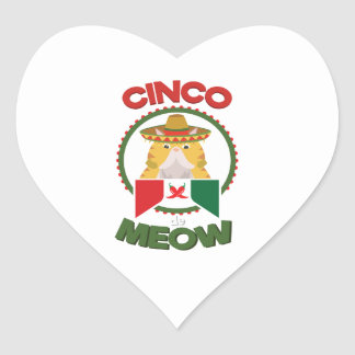 Funny Cat for Cinco de Mayo Mexican Holiday Heart Sticker