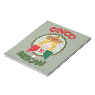 Funny Cat for Cinco de Mayo Mexican Holiday Notepad