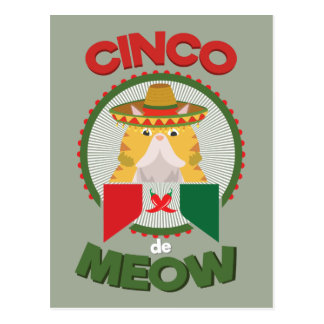 Funny Cat for Cinco de Mayo Mexican Holiday Postcard