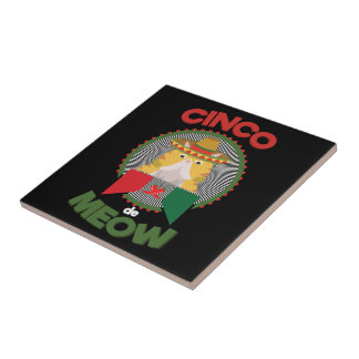 Funny Cat for Cinco de Mayo Mexican Holiday Small Square Tile
