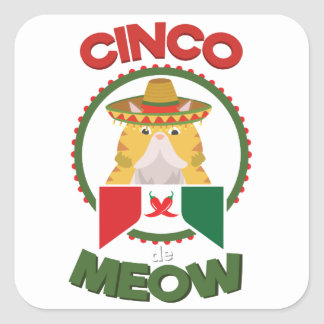 Funny Cat for Cinco de Mayo Mexican Holiday Square Sticker