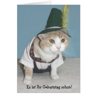 Funny Cat German Birthday Card
