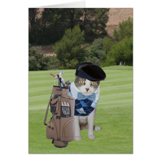 Funny Cat Golfer Birthday Card