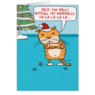 Funny Cat Hairballs Christmas Greeting Card