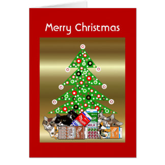 Funny Cat & Kitten Christmas Card Customizable