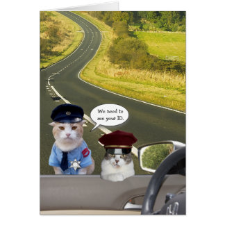 Funny Cat/Kitty Officers Birthday Card