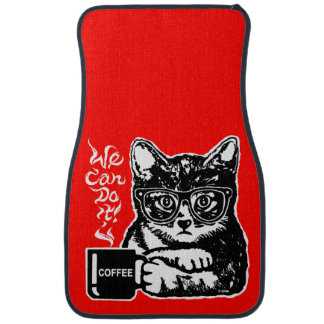 Funny cat motivated by coffee car mat