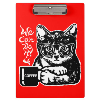 Funny cat motivated by coffee clipboard
