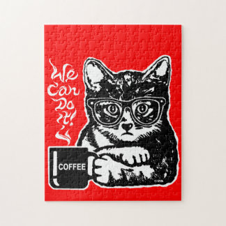 Funny cat motivated by coffee jigsaw puzzle