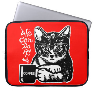 Funny cat motivated by coffee laptop sleeve