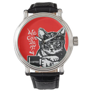 Funny cat motivated by coffee watch