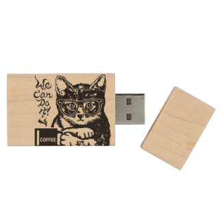 Funny cat motivated by coffee wood USB flash drive