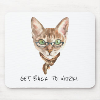 Funny cat motivational work quote or your text mouse pad