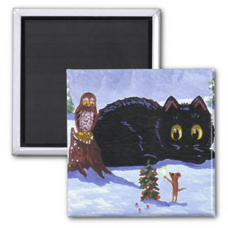 Funny Cat Mouse Owl Christmas Creationarts Magnet