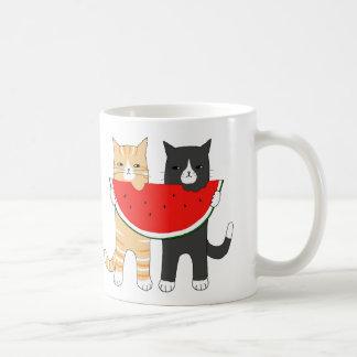 Funny Cat Mug Tabby Tuxedo Cat with Watermelon Mug
