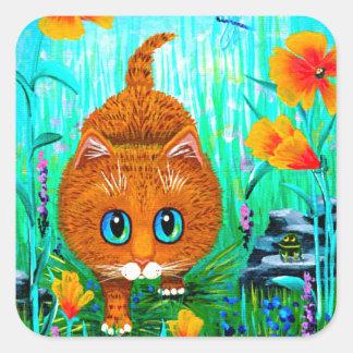 Funny Cat Orange Tabby Cartoon Creationarts Square Sticker