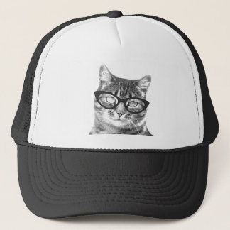 Funny cat photo trucket hat | Kitty with glasses