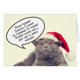 Funny cat pun Christmas Xmas customisable Card