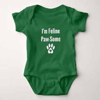 Funny Cat Pun Design-I'm Feline Paw-Some Baby Bodysuit
